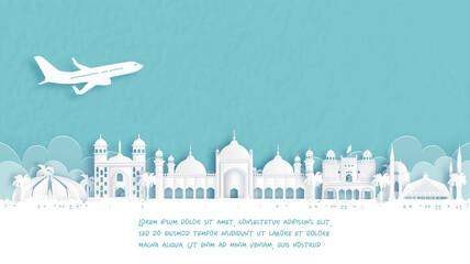 Fototapete - Travel poster with Welcome to Islamabad, Pakistan famous landmark in paper cut style vector illustration.