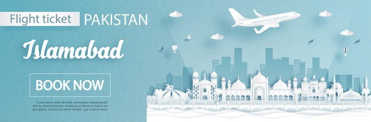 Fototapete - Flight and ticket advertising template with travel to Islamabad, Pakistan concept and famous landmarks in paper cut style vector illustration