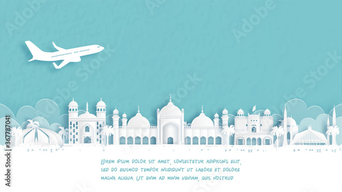 Fototapete Travel poster with Welcome to Islamabad, Pakistan famous landmark in paper cut style vector illustration.