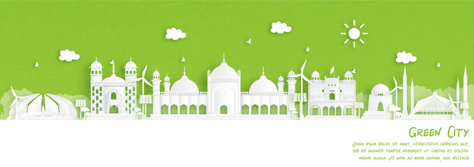 Fototapete - Green city of Islamabad, Pakistan. Environment and ecology concept in paper cut style. Vector illustration.