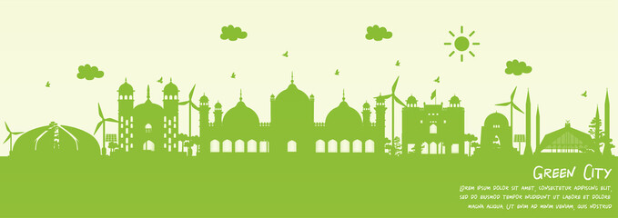 Fototapete - Green city of Islamabad, Pakistan. Environment and ecology concept. Vector illustration.