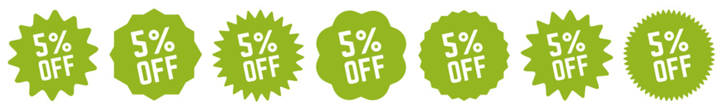 5 Percent OFF Discount Tag Green | Special Offer Icon | Sale Sticker | Deal Label | Variations