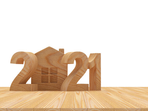 2021 wooden numbers with house icon on wooden floor on white. 3D illustration