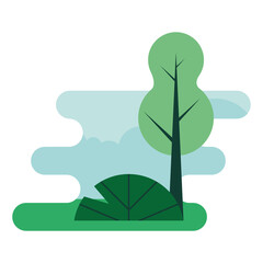 Wall Mural - forest landscape natural scene icon