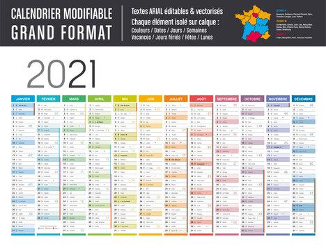 Calendrier 2021 modifiable - Grand format