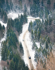 Mountain road in the forest. Carpathians Ukraine winter.