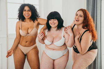 Body acceptance concept. Group of curvy girl posing in studio against society prejudice