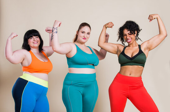 Plus size women making sport and fitness