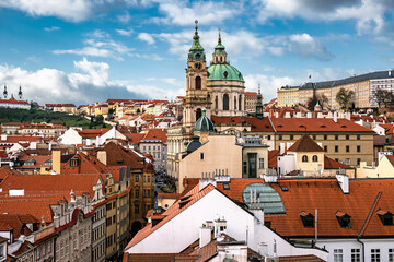 Panorama of Lesser Town with Saint Nicholas Church in the middle in Prague, Czechia