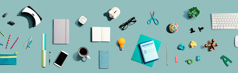 Tuinposter Europa Collection of electronic gadgets and office supplies - flat lay