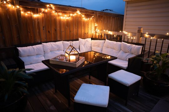 Beautiful design of terrace lounge decorated with lights