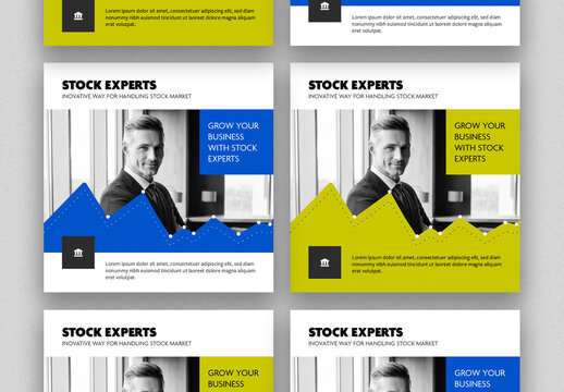 Stock Market Social Media Post Layouts with Blue and Green Accent