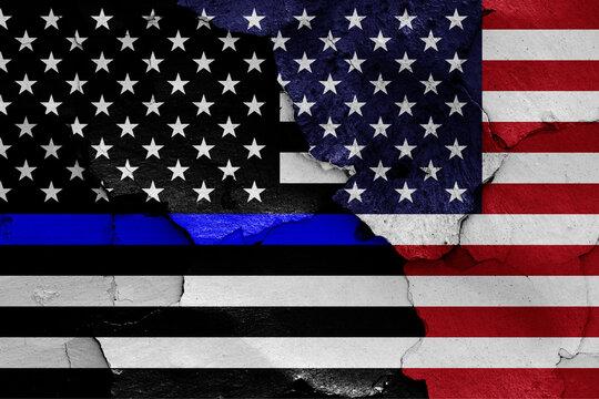 Blue lives matter flag and USA flag