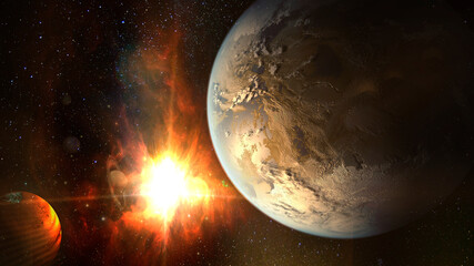 Exoplanet exploration, fantasy and surreal landscape. Elements of this image furnished by NASA.