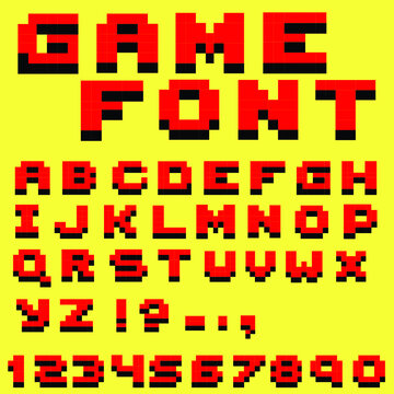 Pixel retro video game font. 8 bit letters and numbers font.