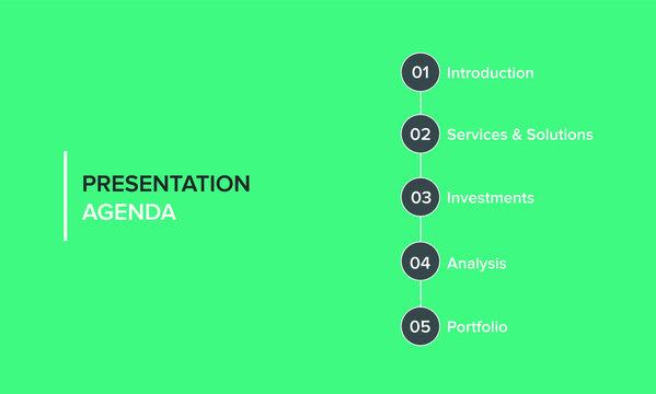 Agenda infographics template, presentation agenda. Vector template design. Editable template of presentation slide representing company agenda, meeting agenda.