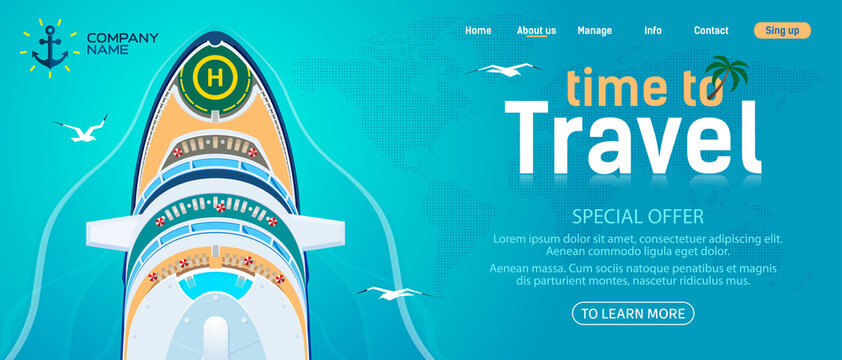 Sea and ocean travel website template. Large cruise ship against the blue sea, top view. Vector, illustration