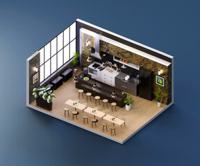 Isometric view restaurant open inside interior architecture, 3d rendering.