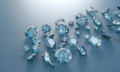 Blue diamonds group close up background, 3D illustration.