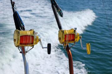 Deep Sea Fishing Reel on a boat