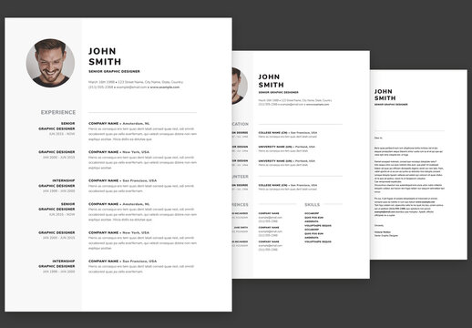 Minimal Contemporary Resume and Cover Letter Set