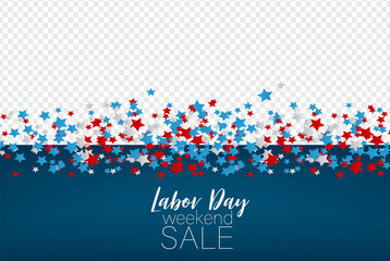 Labor Day weekend sale. United States national flag colors stars. USA federal holiday overlay banner. vector illustration.