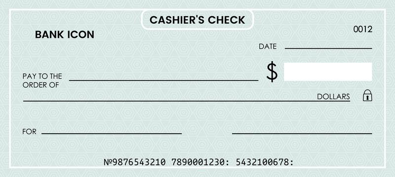 blank bank check. checkbook vector template. illustration