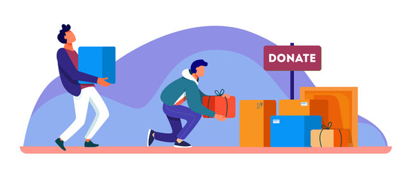 Volunteers donating stuff in boxes for poor people. Service, homeless, kindness flat vector illustration. Charity and care concept for banner, website design or landing web page