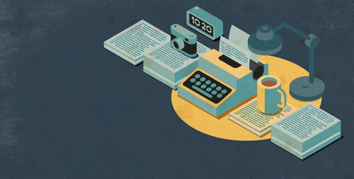 Writer desktop with vintage typewriter