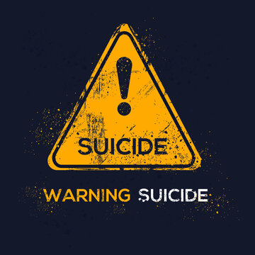 Warning sign (suicide), vector illustration.