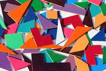 Geometric shapes, parts of a puzzle for children