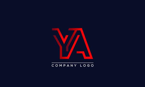 Abstract unique modern minimal alphabet letter icon logo YA