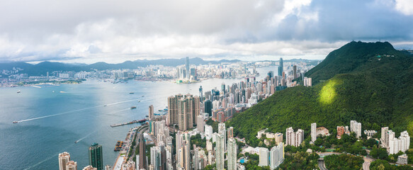 Wall Mural - Amazing view of Victoria Harbour, Hong Kong, panorama, daytime