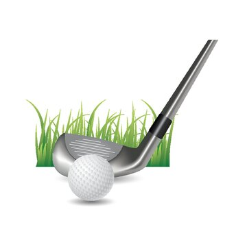 golf ball with club head