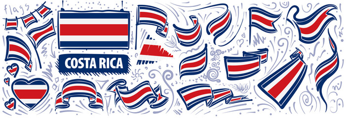 Vector set of the national flag of Costa Rica in various creative designs Fotobehang