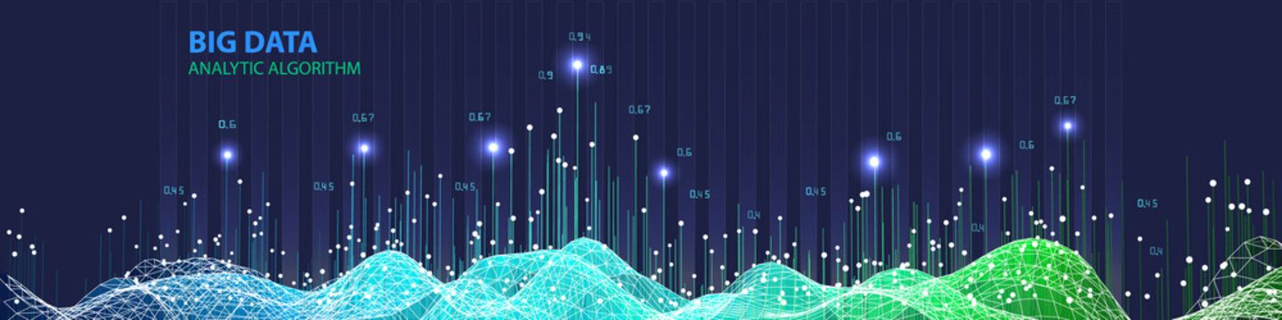 Abstract  infographics with wavy grid algorithm data on blue background. Data chart. 3d grid data chart  algorithm. Vector Illustration. Big data.