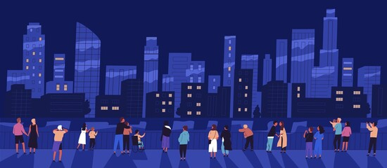 Foto auf Leinwand Dunkelblau Crowd of different people standing on waterfront admiring night cityscape vector flat illustration. Man, woman, children and couple relaxing outdoor walking on embankment. View of city buildings