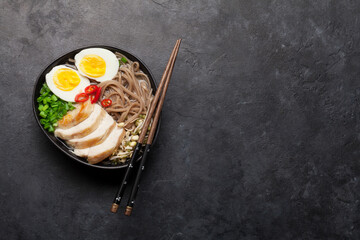 Foto op Canvas Europa Asian noodle ramen soup