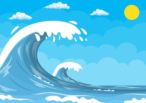 Big ocean wave. Summer landscape with sun and cloud. Vector illustration in flat style