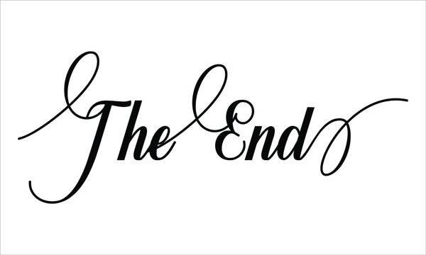 The End Script Calligraphy Cursive Typography Black text lettering and phrase isolated on the White background