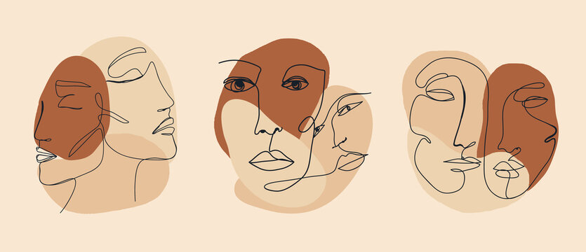 Trendy vector set of illustrations in minimal linear style. Face continuous line art.