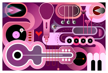 Shades of saturated purple color abstract musical background. Design of different musical instruments, vector illustration. Acoustic guitar, saxophone, piano keys, trumpets, microphone and gramophone.