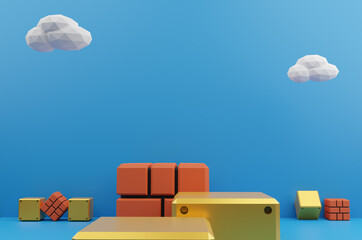 Minimal scene brick block and yellow steel block with white cloud on blue background. Geometric shape.3D rendering.Use For Product Showcase.