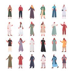 Wall Mural - set arabic men women in traditional clothes arab male female cartoon characters collection full length isolated vector illustration