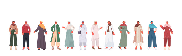 Wall Mural - set arabic women in traditional clothes arab female cartoon characters collection full length isolated horizontal vector illustration