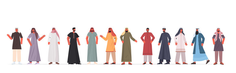 Wall Mural - set arabic men in traditional clothes arab male cartoon characters collection full length isolated horizontal vector illustration
