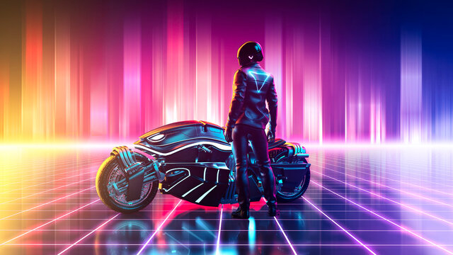 Cyberpunk motorbike on a vibrant colorful retrowave landscape with a grid pattern in the cyberspace horizontal version - concept art - 3D rendering