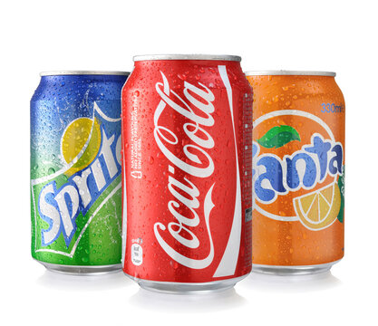 Coca-Cola, Fanta and Sprite Cans Isolated On White.