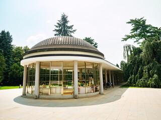 Mineral spring Bocek in Spa park, hot summer day