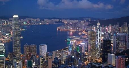Wall Mural - Top view of Hong Kong city at night